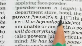 Power word in english dictionary, alternative energy sources, state government. Stock footage stock video