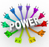 Power - Word Surrounded by Plugs. The word power surrounded by a ring of colorful electrical plugs Royalty Free Stock Image