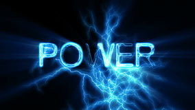 POWER Word Text Animation with Electrical Lightning Royalty Free Stock Photography