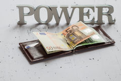 Power word and wallet with euro Royalty Free Stock Photography