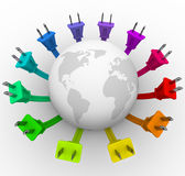 Power - World Surrounded by Plugs Royalty Free Stock Photos