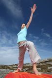 Power yoga warrior two position. Girl in Power yoga warrior two position Stock Images