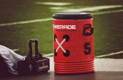 Powerade. Houston, USA- March 23, 2012: A red container of Poweade ready to be used in a soccer field Royalty Free Stock Image