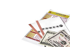 Powerball Lottery Tickets with US Currency Stock Image