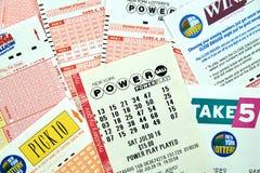Powerball-Lottoscheine Lizenzfreies Stockfoto