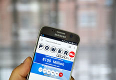 Powerball on mobile phone stock photography