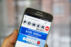 Powerball on mobile phone stock images