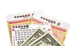 PowerBalll Lottery Tickets Stock Photo