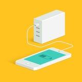 Powerbank ładuje białego smartphone Isometric widok Wektorowy mieszkanie styl ilustracji