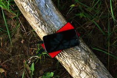 Powerbank και smartphone σε έναν κορμό δέντρων στοκ φωτογραφίες με δικαίωμα ελεύθερης χρήσης