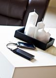 Powerbank on living room table Stock Photo