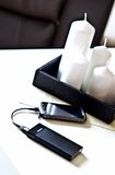 Powerbank on living room table Stock Images