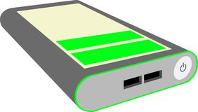 Powerbank with low charge and two usb slots vector illustration
