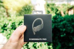 Powerbeats Pro Beats by Dr Dre earphones cardboard box royalty free stock photos