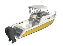 Powerboat που απομονώνεται στην άσπρη τρισδιάστατη απεικόνιση υποβάθρου ελεύθερη απεικόνιση δικαιώματος