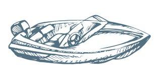 powerboat предпосылка рисуя флористический вектор травы иллюстрация вектора