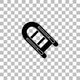 Powerboat icon flat. Powerboat. Black flat icon on a transparent background. Pictogram for your project stock illustration