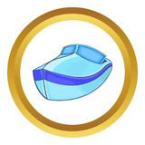 Powerboat icon. In golden circle, cartoon style isolated on white background royalty free illustration