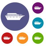Powerboat icons set. In flat circle reb, blue and green color for web stock illustration