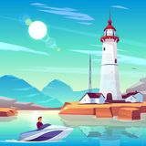 Powerboat with man pass by harbor with lighthouse. Lighthouse in harbor and powerboat with man passing by dwellings and tower stand on rocky coast at sunny day vector illustration