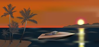 Powerboat- och solnedgångillustration stock illustrationer