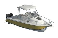 Powerboat Odizolowywający na białej tła 3d ilustracji ilustracji