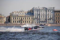 Powerboat Prix magnífico que compite con de la fórmula 1 de Rusia imagenes de archivo