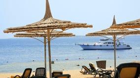 Powerboat ship sails along tropical resort beach stock photo