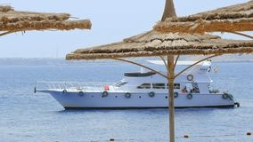 Powerboat ship sails along tropical resort beach. Sharm-El-Sheikh, Egypt - August 27, 2017: Powerboat ship is sailing along the tropical resort beach stock video