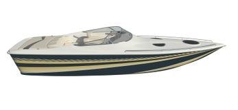 Powerboat som isoleras på den vita illustrationen för bakgrund 3d stock illustrationer