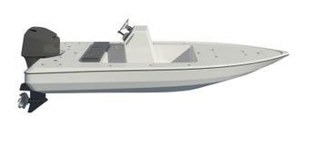 Powerboat som isoleras på den vita illustrationen för bakgrund 3d royaltyfri illustrationer