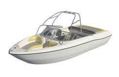 Powerboat som isoleras på den vita illustrationen för bakgrund 3d vektor illustrationer