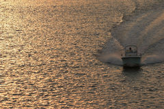Powerboat at sunset. Front overhead view of powerboat racing across the water at sunset royalty free stock images