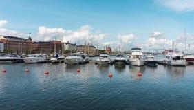 Powerboats moored in the harbor, Helsinki, Finland. Powerboats moored in the harbor of the Northern Port, Helsinki, Finland Stock Photos