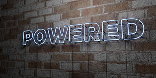 POWERED - Glowing Neon Sign on stonework wall - 3D rendered royalty free stock illustration Royalty Free Stock Photography
