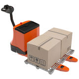 Powered Pallet Jack and Plastic Pallet  Isolated on White Background Royalty Free Stock Photo