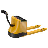 Powered Pallet Jack Yellow Isolated on White Background Stock Images