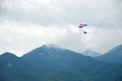 Powered parachute and mountains Royalty Free Stock Image