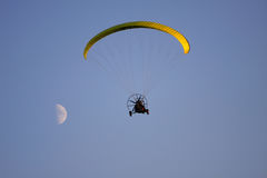 Powered paraglider. In the sky royalty free stock image