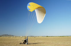 Powered Paragliding 11. A powered paraglider pilot preparing for take-off Stock Photo