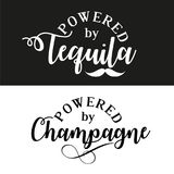 Powered by tequila/champagne. stock illustration