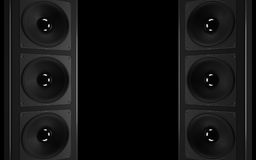 A powerful audio Stereo system. Array of speakers Royalty Free Stock Photos