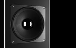 A powerful audio system. Stylish black speaker Royalty Free Stock Photography