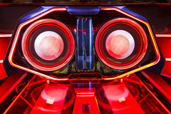 A powerful audio system with amplifiers speakers and lcd monitor Royalty Free Stock Photos