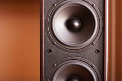 Powerful audio system. Closeup view of black bass Stock Images