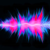 Powerful Audio Waves. Graphic audio equalizer or waveform illustration with glowing plasma electricity flowing through the center Stock Image