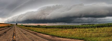 Powerful and Beautiful Storm Clouds at Sunset outside of Sioux Falls, South Dakota during Summer.  stock photo