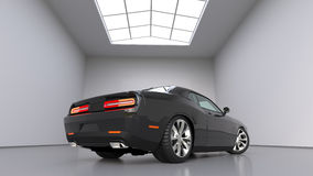 Powerful black conceptual sports car. Bright large room around. 3D illustration. Stock Image