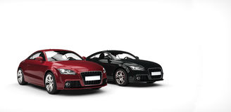 Powerful Black And Crimson Cars Royalty Free Stock Photo