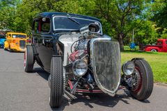 Powerful black hot rod car. Black hot rod car at Victorian Hot Rod & Cool Rides Show in Melbourne, Australia Stock Image